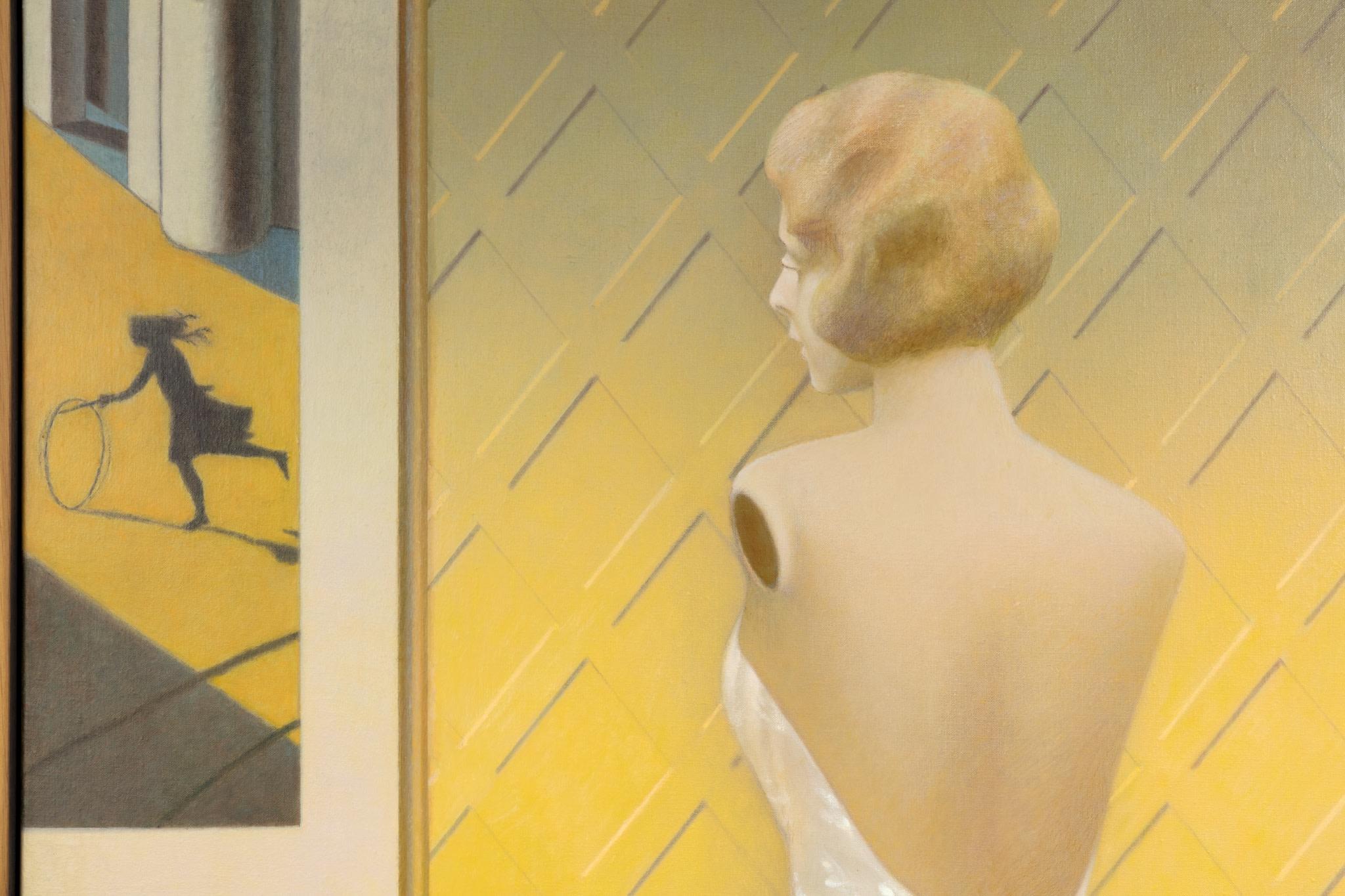 Detail: Almut Heise, Schaufenster, 2016, oil on canvas, 150,2 x 100,3 cm (59 1/8 x 39 3/8 in) (unframed), 153 x 103 x 5 cm (60 1/4 x 40 1/2 x 2 in) (framed). Photo © Andrea Rossetti