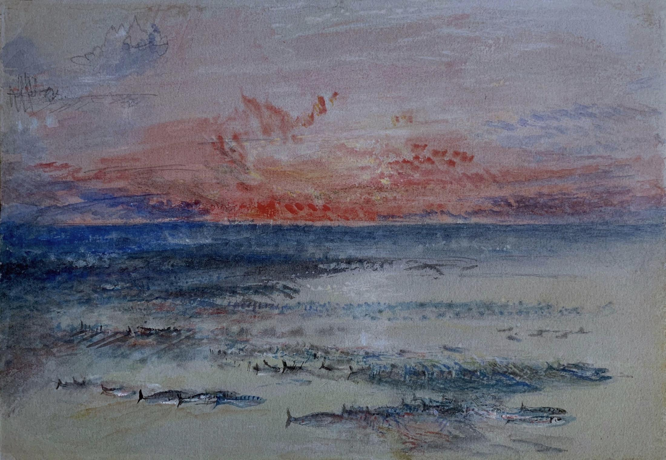 A Sunset, perhaps off Margate, with a Mackerel Shoal