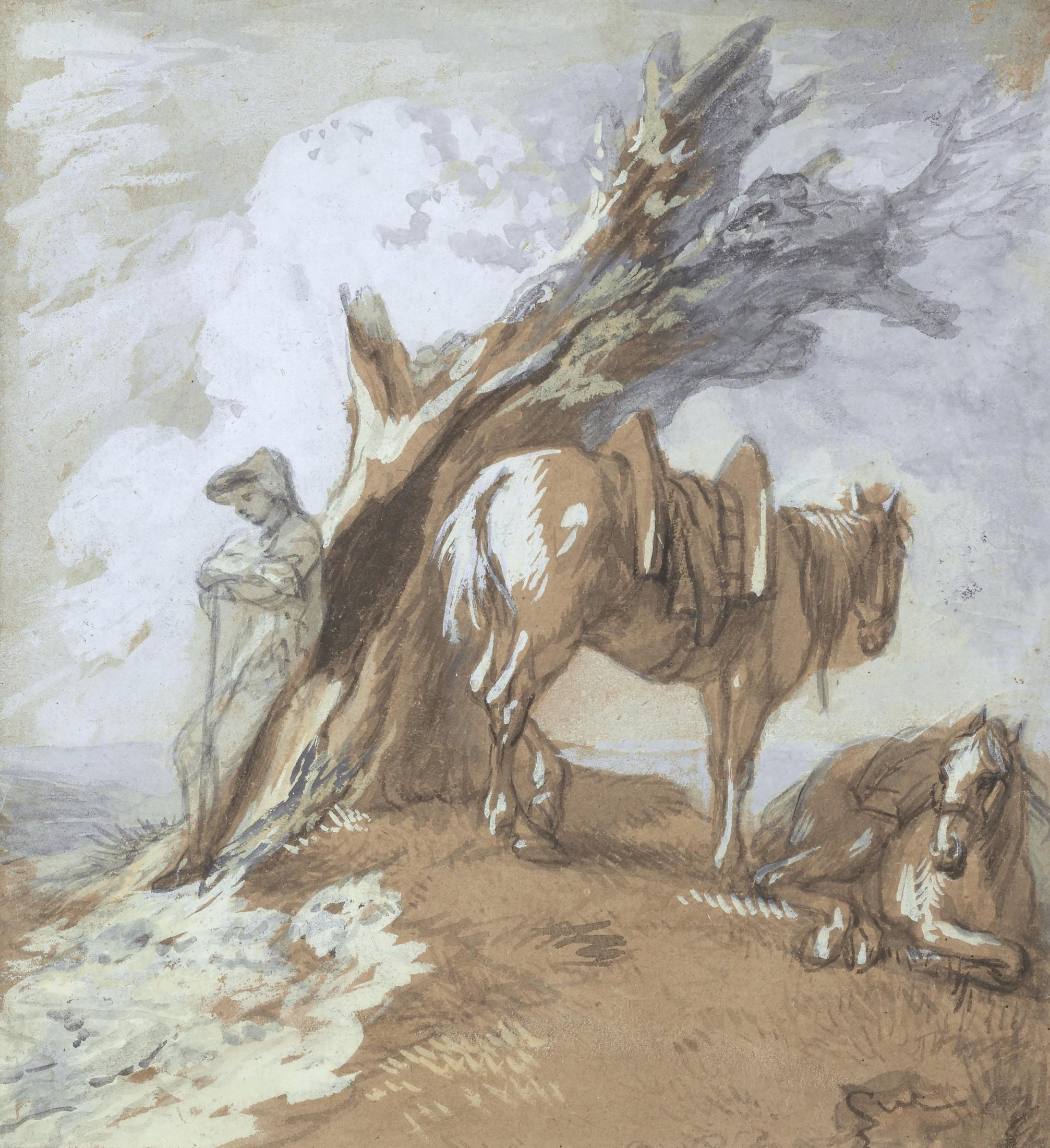 Open Landscape with Drover and Packhorses