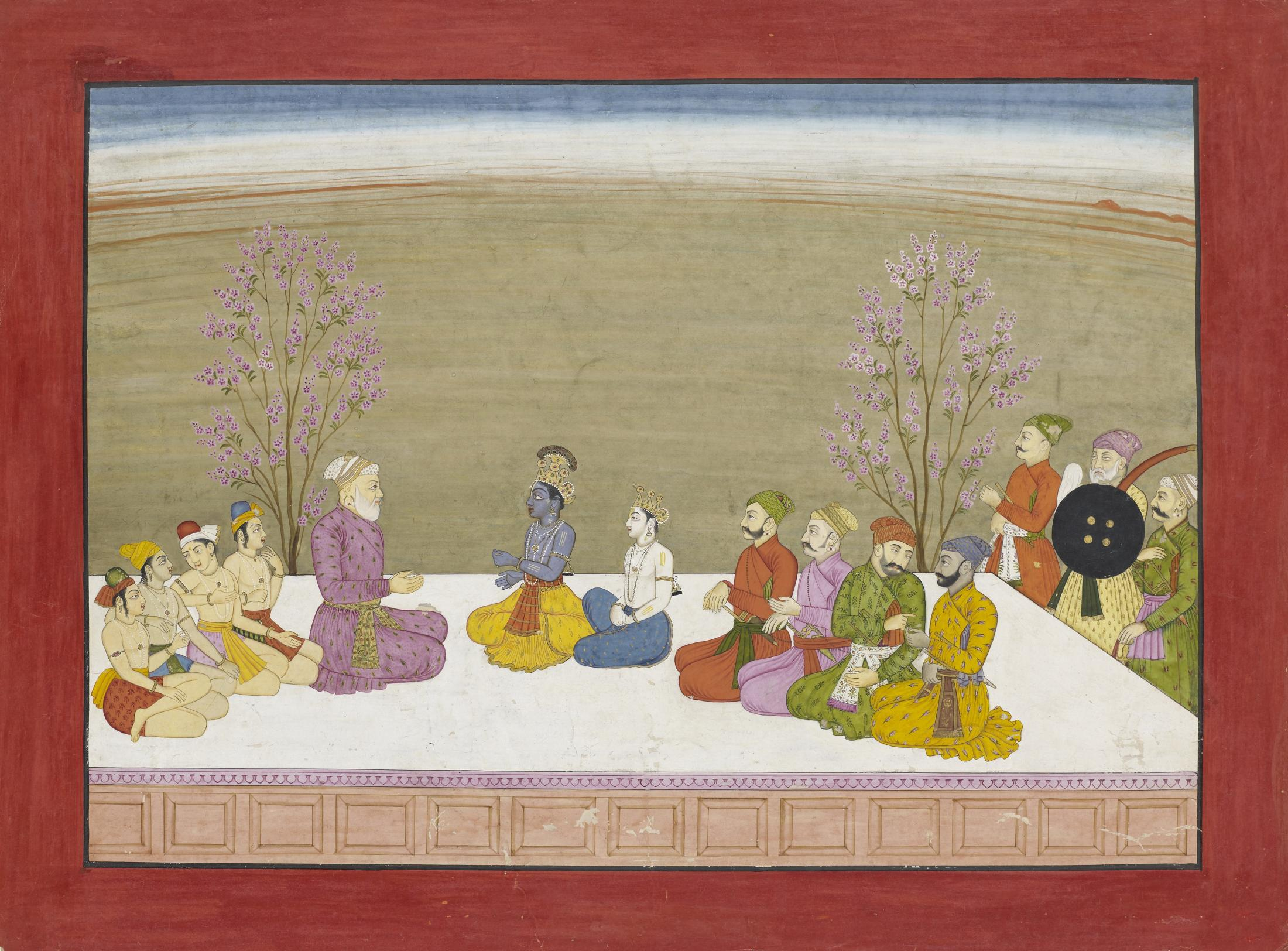 Illustration from the 'Large Basohli Bhagavata Purana' series, also known as the 'Fifth Basohli Bhagavata Purana'