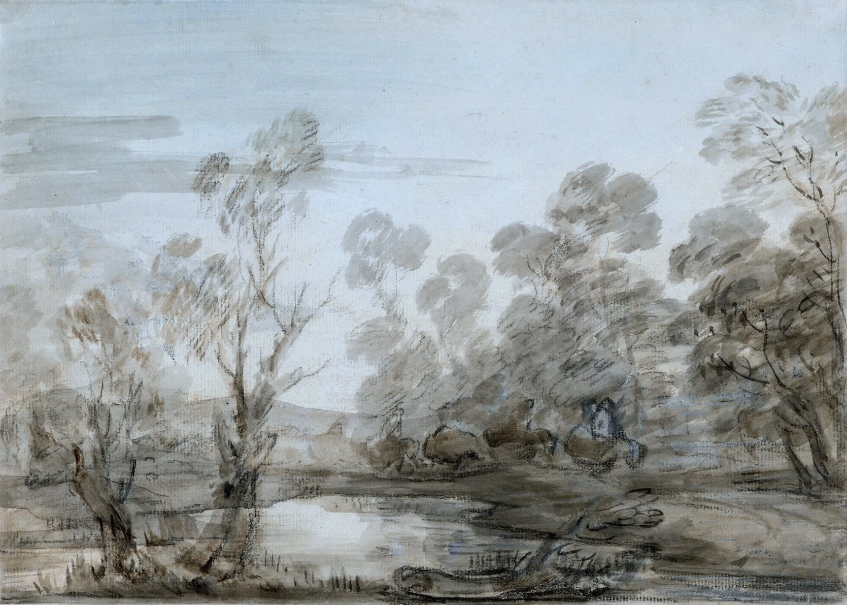 Wooded Landscape with Horsemen by a Pool