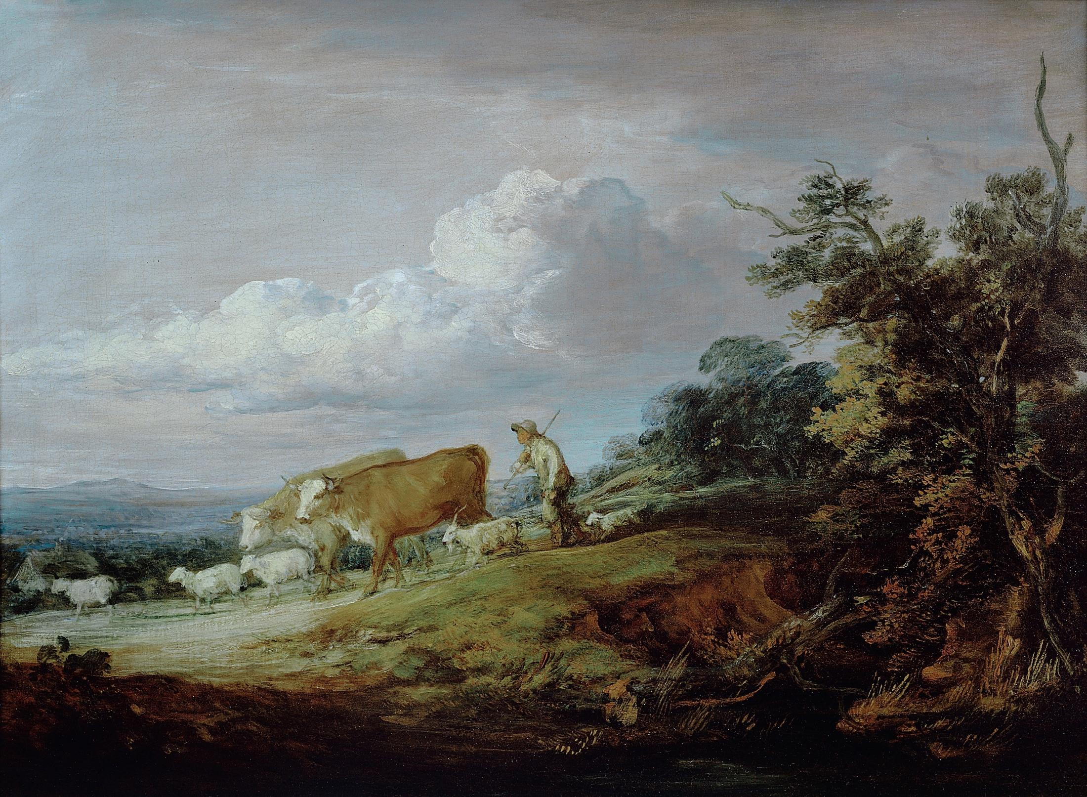 An Open Landscape With A Herdsman Driving Cows And Sheep