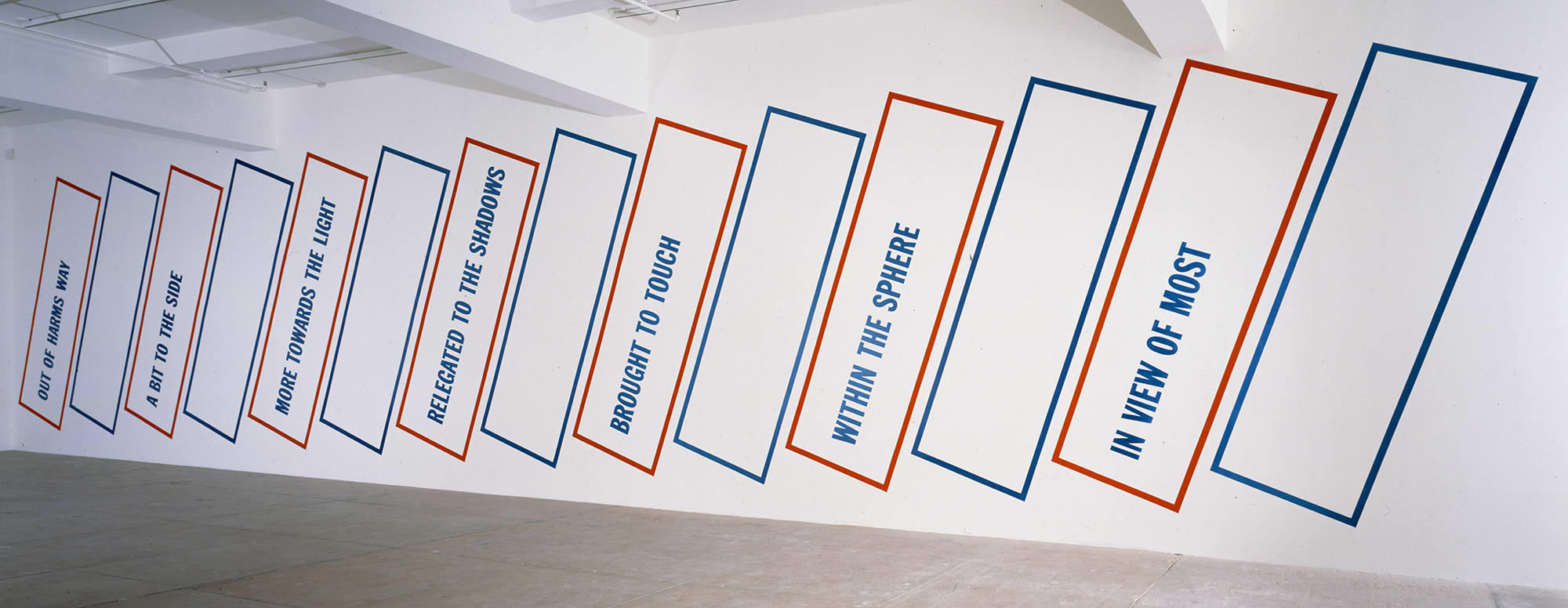 Lawrence Weiner, A BASIC ASSUMPTION - OUT OF HARMS WAY / A BIT TO THE SIDE / MORE TOWARDS THE...