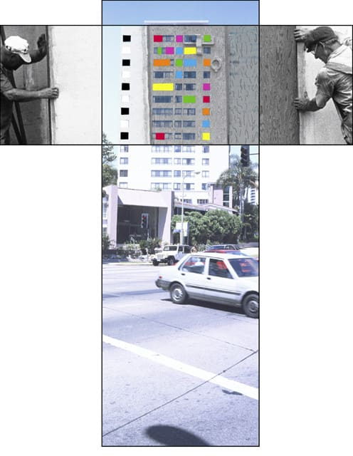 John Baldessari, The Intersection Series: Two Workers Moving Scenery/High Rise Building, 2002