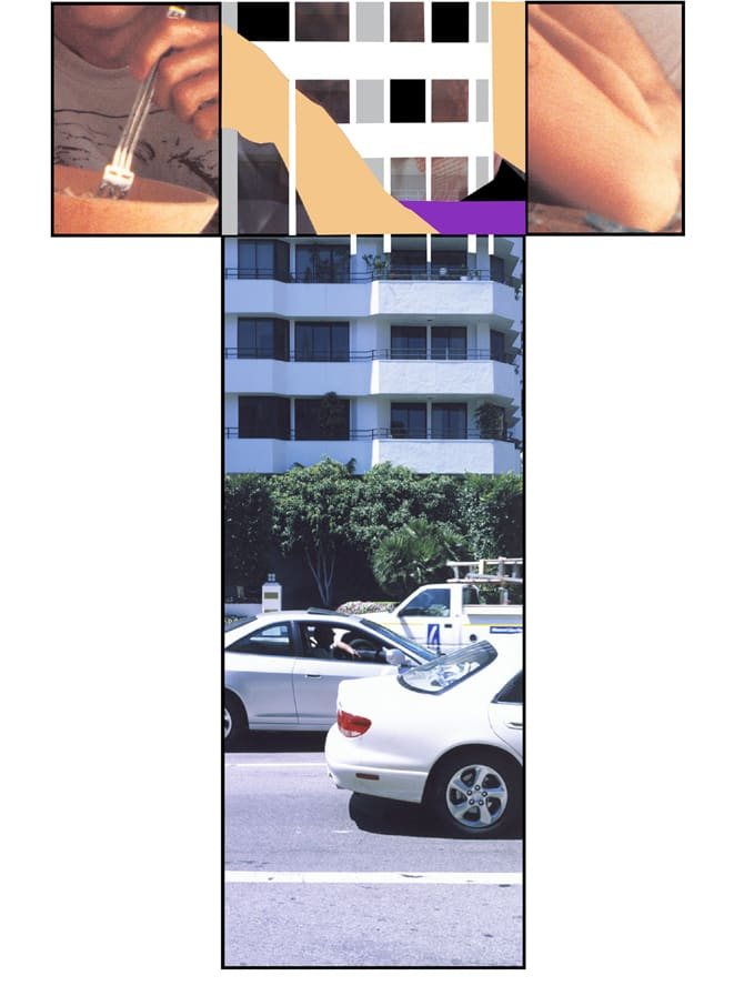 John Baldessari, The Intersection Series: Person Eating (with Fork) and Knee (Bent)/High Rise Building, 2002