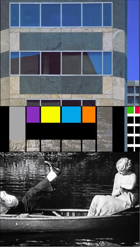 John Baldessari, Overlap Series: Building/Two Persons (One with Leg Outstretched), 2002