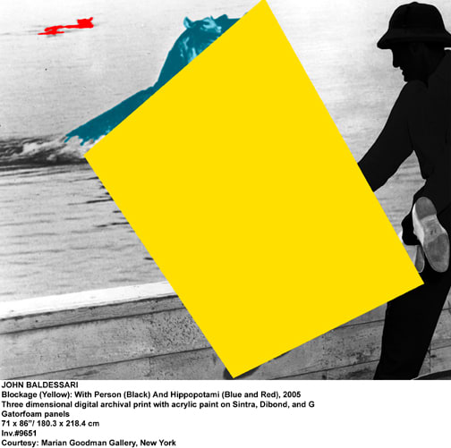 John Baldessari, Blockage (Yellow): With Person (Black And Hippopotami (Blue and Red), 2005