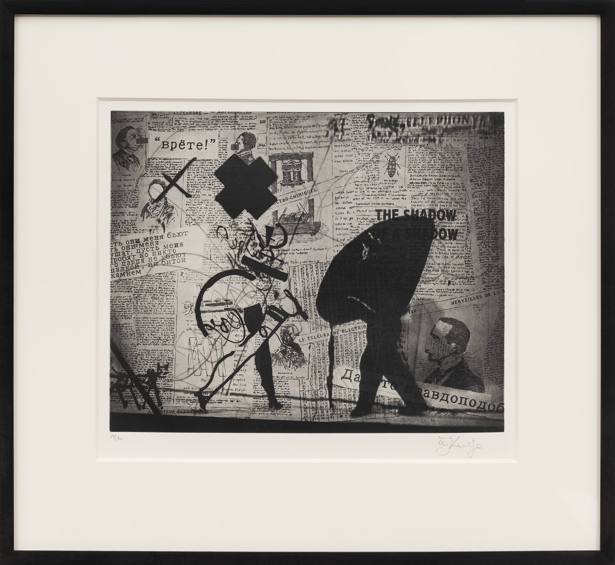 William Kentridge, Nose projection with walking woman, 2010