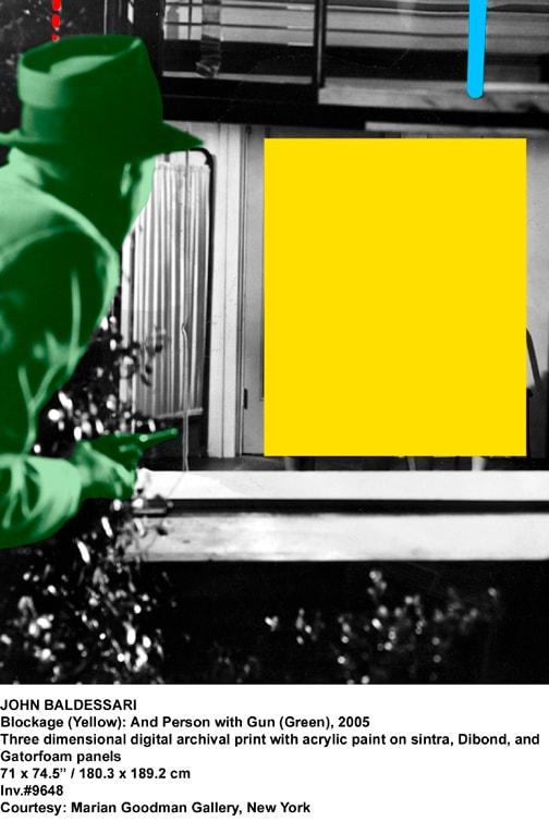 John Baldessari, Blockage (Yellow): And Person with Gun (Green), 2005