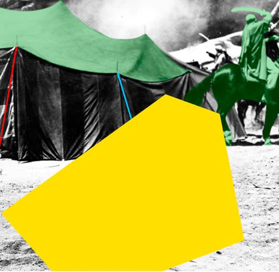 John Baldessari, Blockage (Yellow): With Tent and Sword Fight (Green), 2005