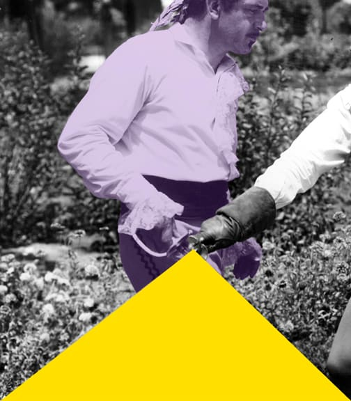 John Baldessari, Blockage (Yellow): And Person with Sword (Violet), 2005