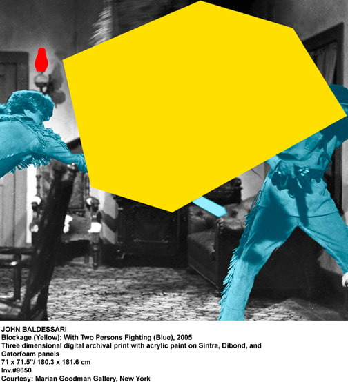 John Baldessari, Blockage (Yellow): With Two Persons Fighting (Blue), 2005