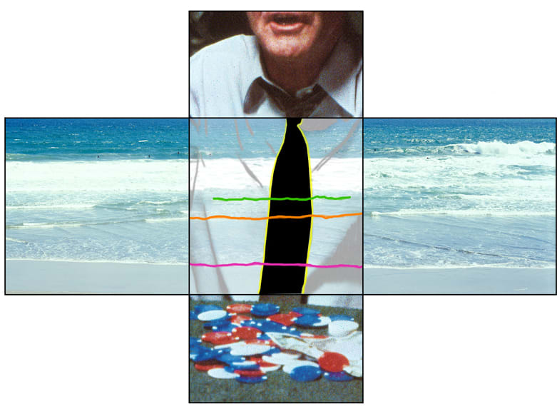 John Baldessari, The Intersection Series: Person Playing Poker/Beach Scene, 2002