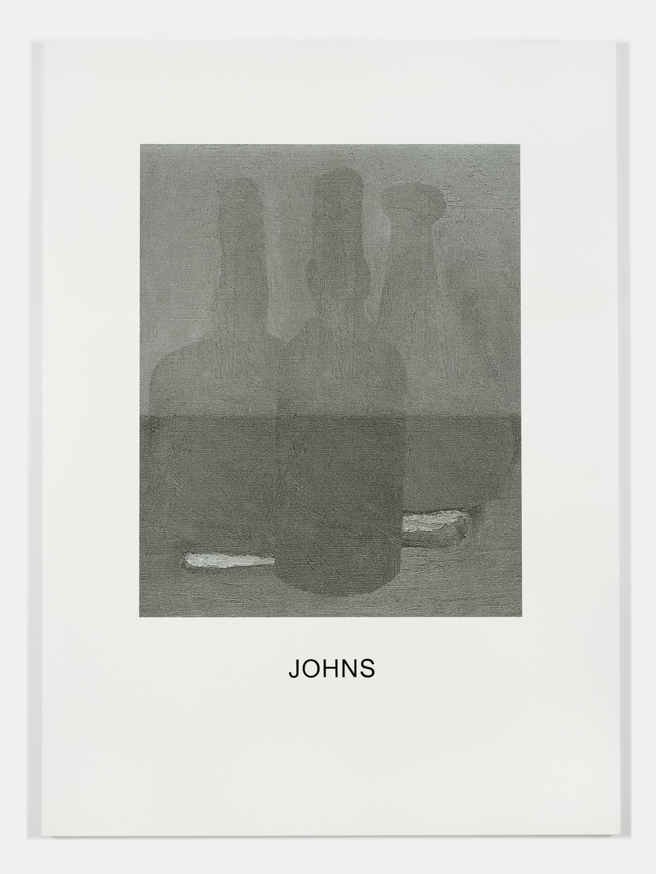 "A greyscale drawing of 3 bottles is above the word ""JOHNS""."