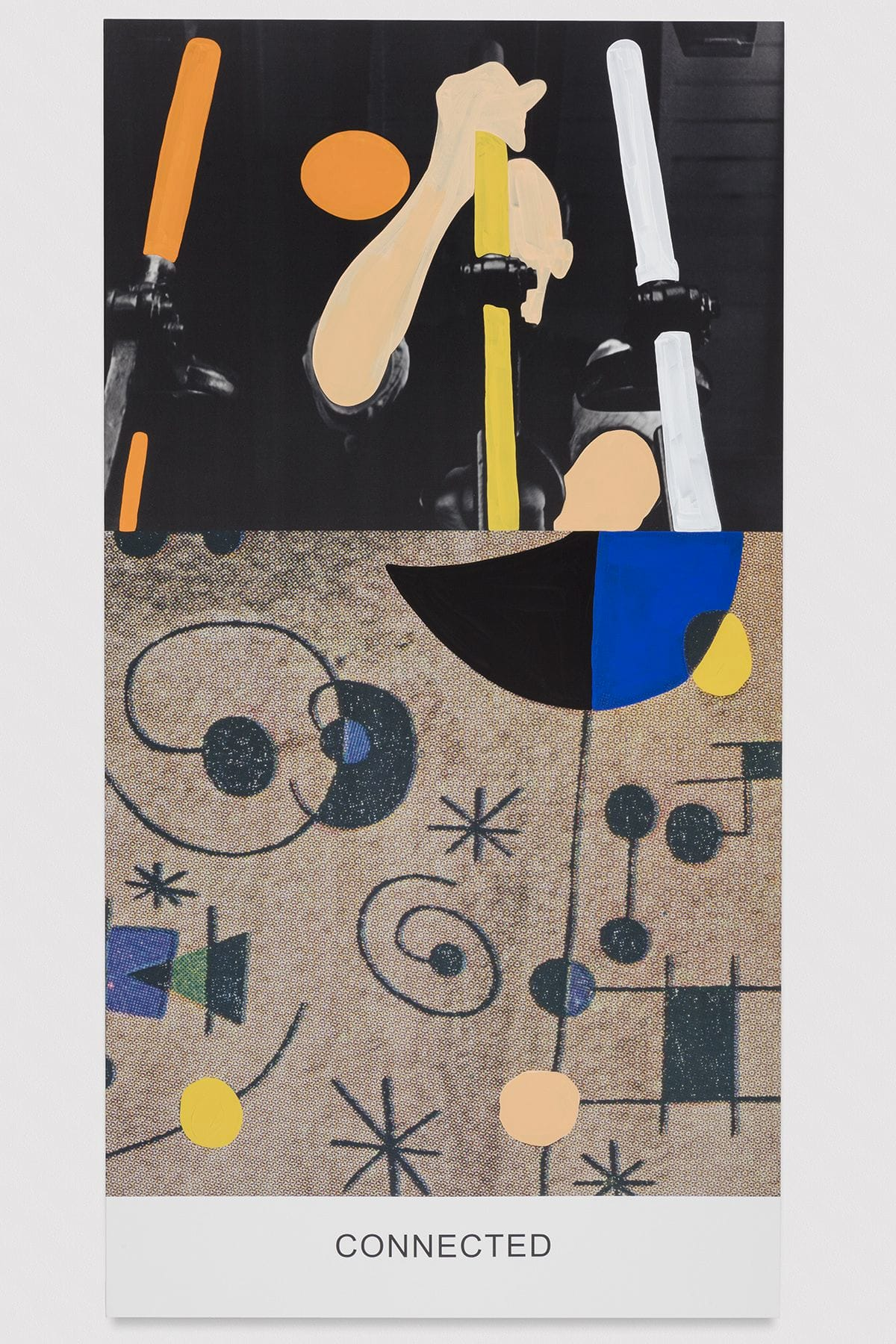 "An abstract Joan Miró painting and image of a man operating machinery are above the word ""CONNECTED""."