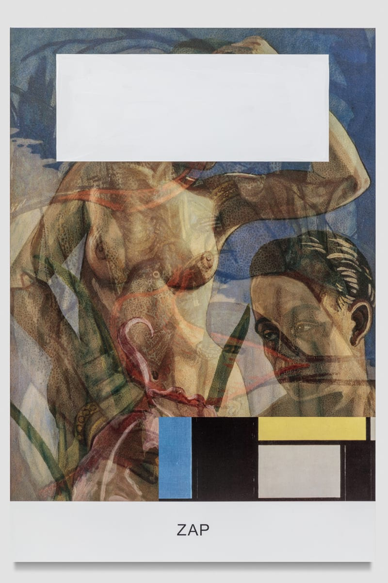"A painting of a nude woman and a man's face, partially blocked by geometric shapes, are above the word ""ZAP""."