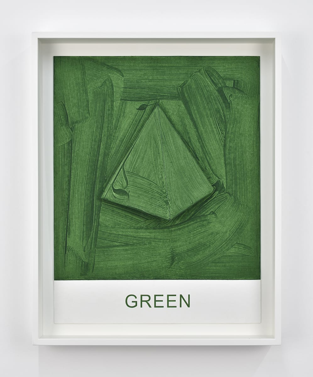 """A green conical painting with the text """"GREEN"""" printed underneath by John Baldessari"""