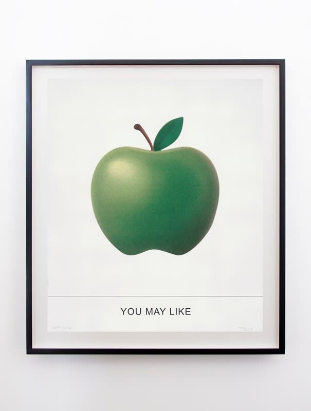 """A screenprint of a green apple with the text """"YOU MAY LIKE"""" by John Baldessari"""