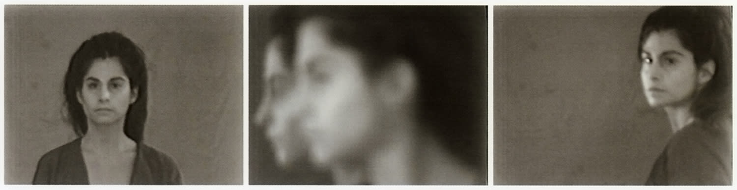 Three part black and white photo portrait. Each element is from a different angle.