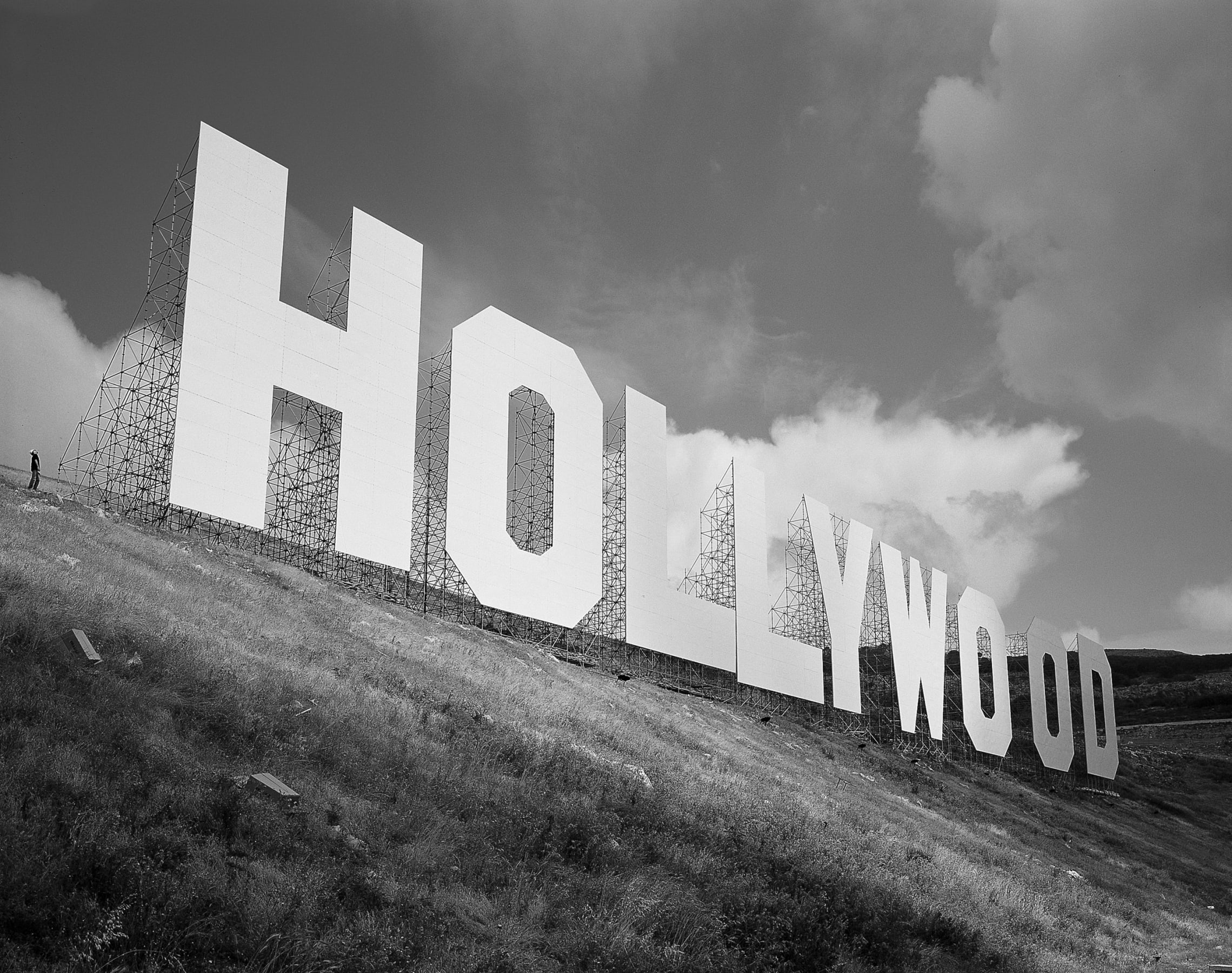 A photograph of the Hollywood sign as recreated by Maurizio Cattelan.