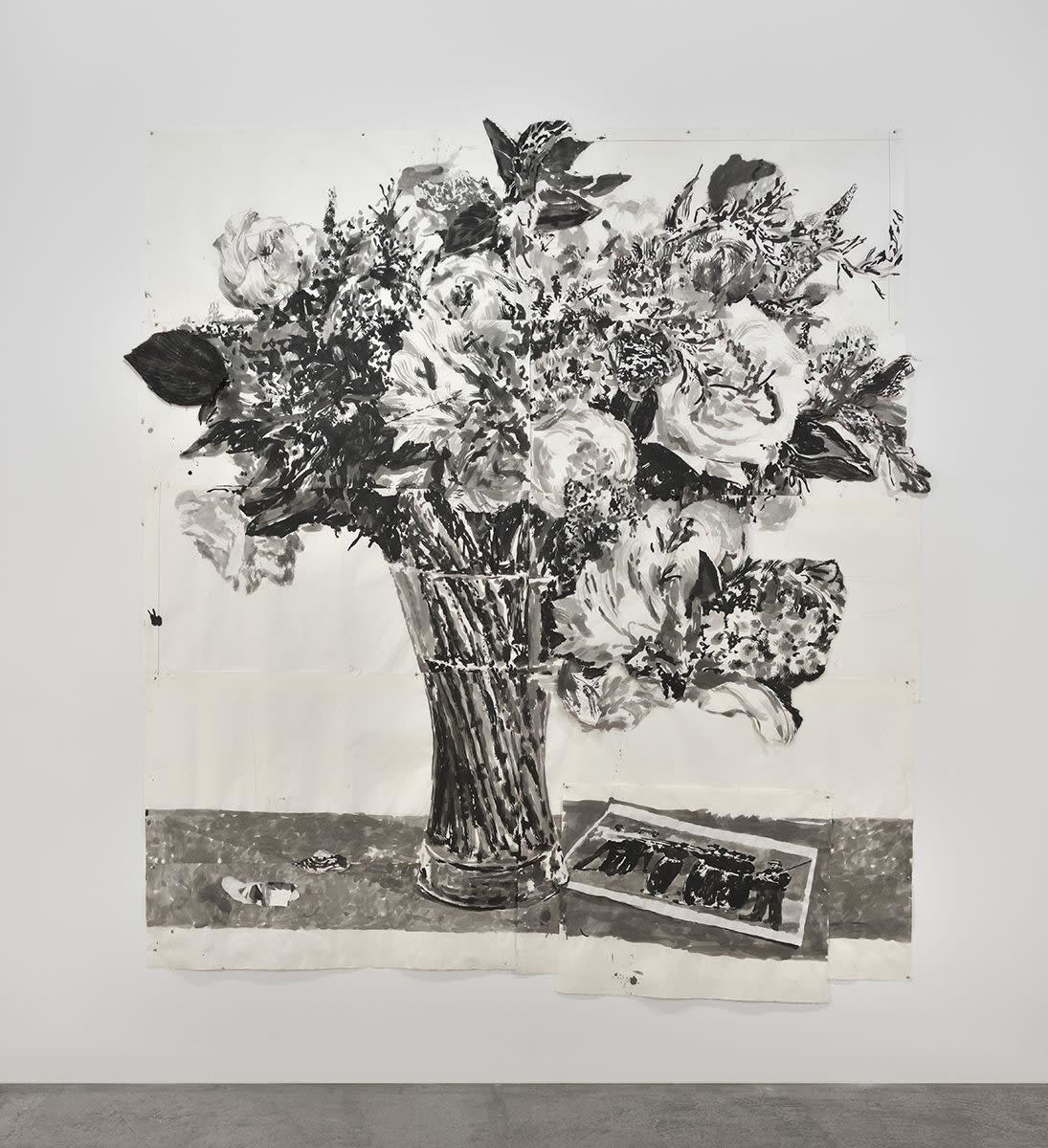 a drawing of flowers in a vase by William Kentridge called The Execution of Maximilian from 2017