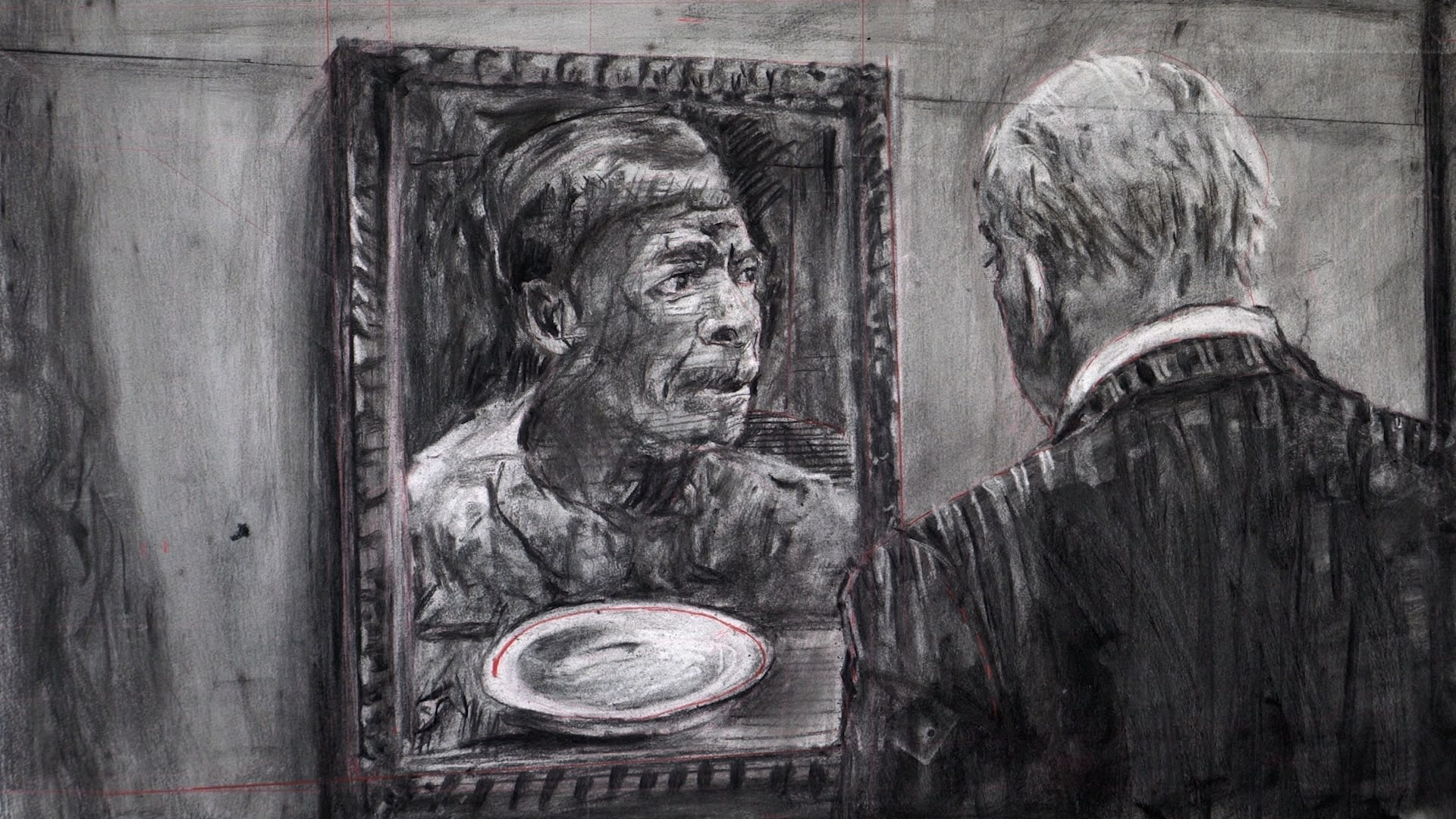 A charcoal drawing of 2 men by William Kentridge