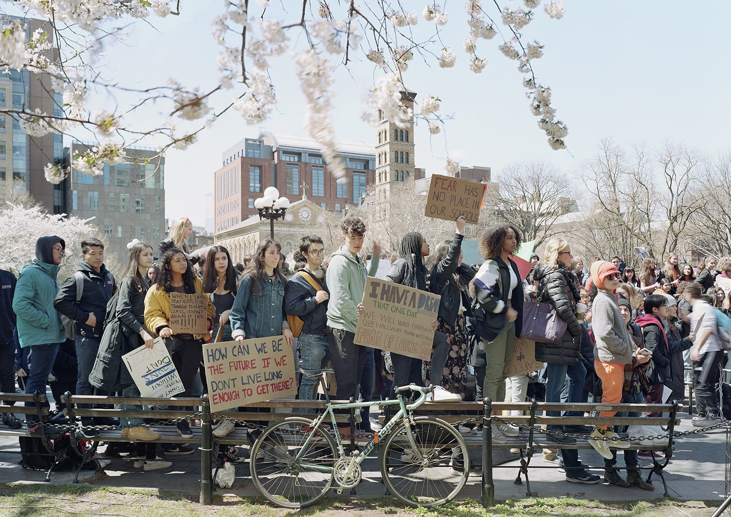 high school students protesting gun violence, Washington Square Park, New York City, April 20, 2018