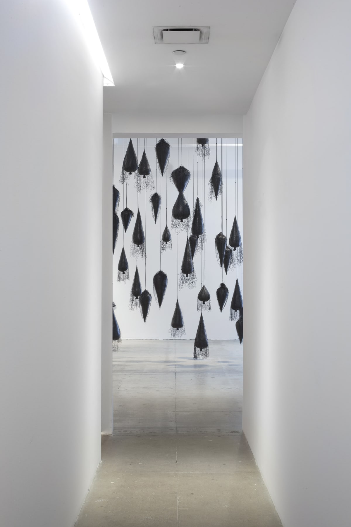 A series of hanging black, balloon-like sculptures resembling trees suspended in midair.