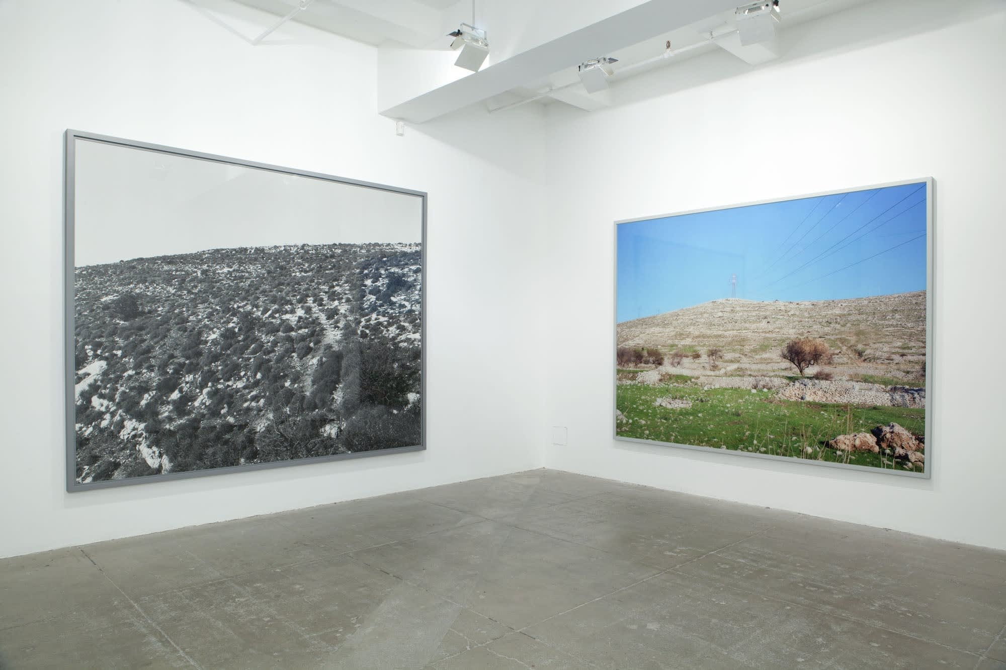 A black and white photograph of a hill covered in grass and shrubs hangs next to a colorful photograph of a barren hill behind a patch of grass.