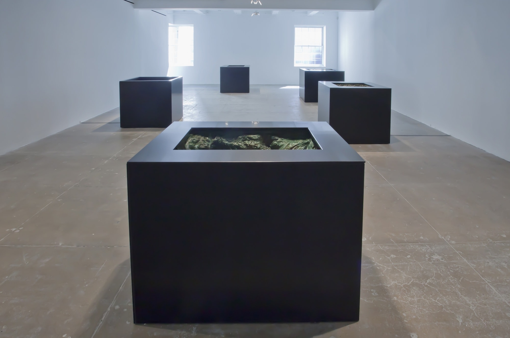 Five large black metal boxes sit on a beige floor in a large white space.