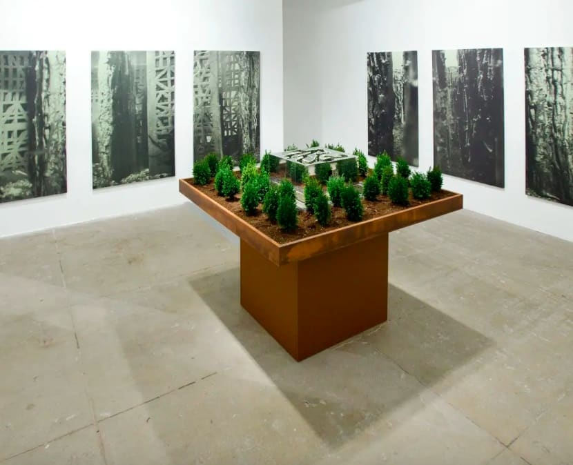 6 large underwater photographs, showing stone walls and plant life, surround a small model, on a bronze table, of a clear sculpture surrounded by fake plastic trees.