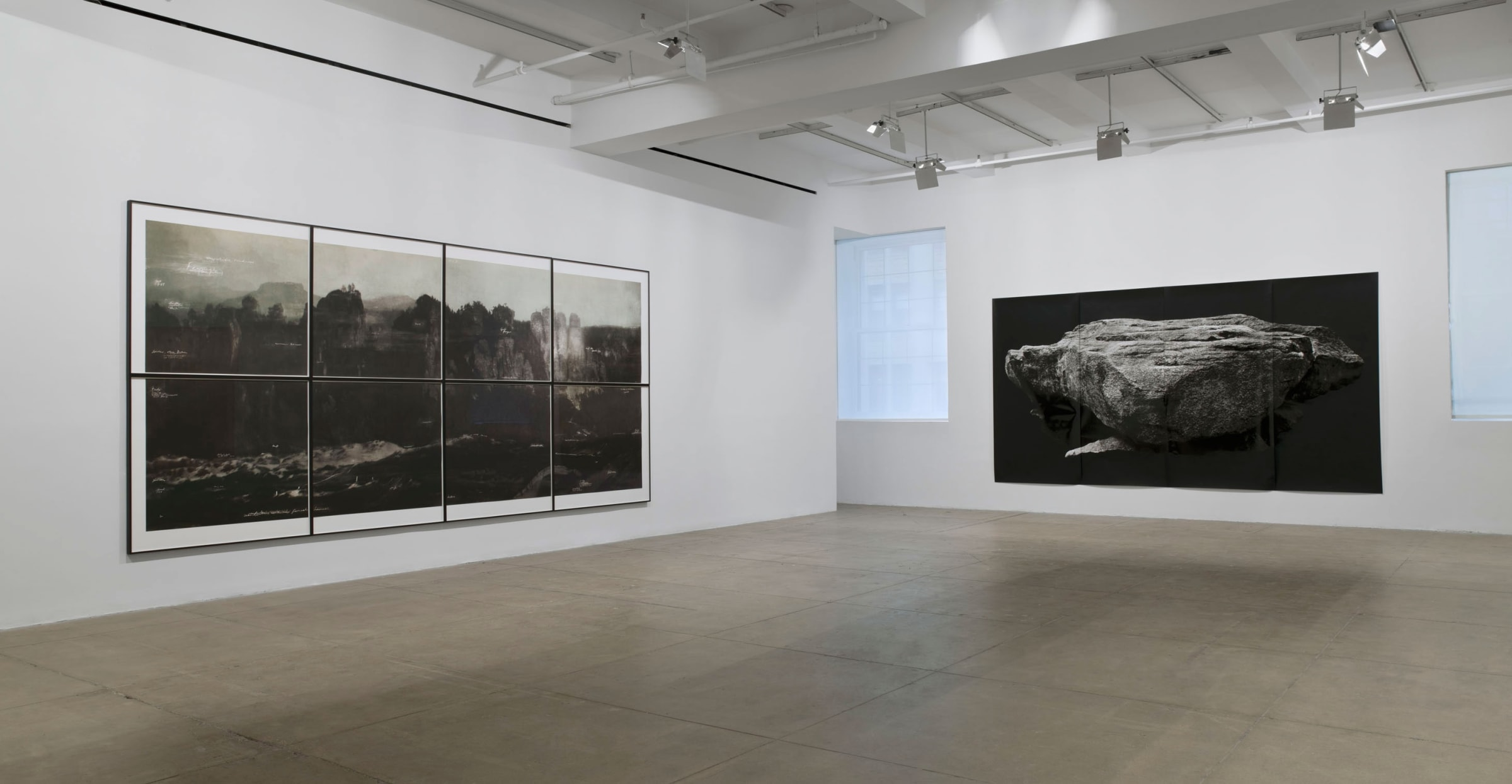 On the left wall, eight framed prints are arranged to form a landscape. A large black print of a rock against a black background hangs on the right.
