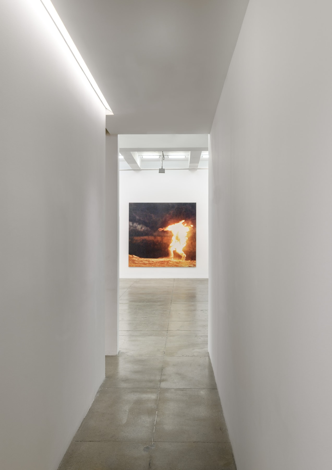 A large photograph of a person set on fire is visible at the end of a long white hallway.