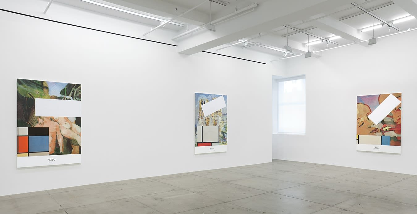 3 large paintings with figures and geometric shapes hang in a white gallery space.