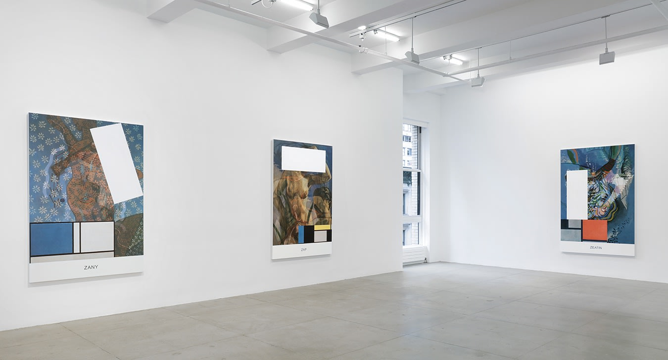 3 large colorful paintings with text, images and geometric shapes hang in a white gallery space with 1 window.
