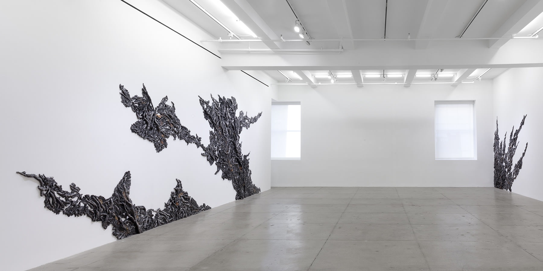3 organic, plant-like forms climb up the gallery walls from the floor.