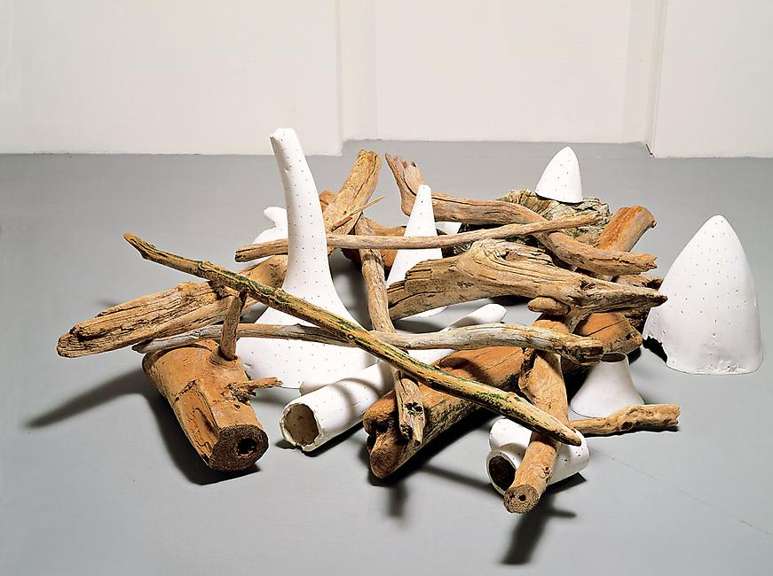 A pile of tree limbs and white organic shapes arranged on the floor.
