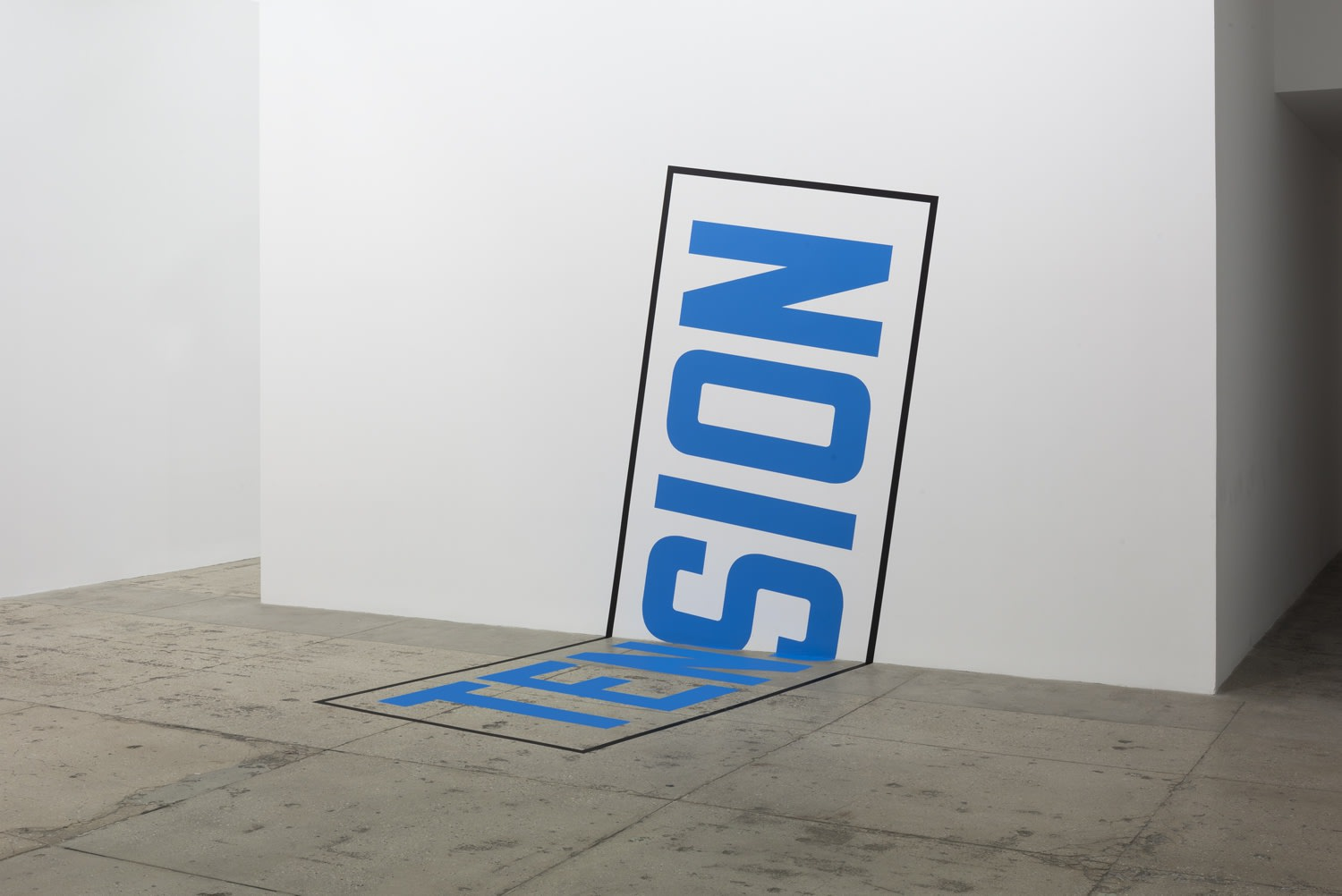 "Blue text surrounded by a black box moving from the floor to the wall reading ""TENSION"""