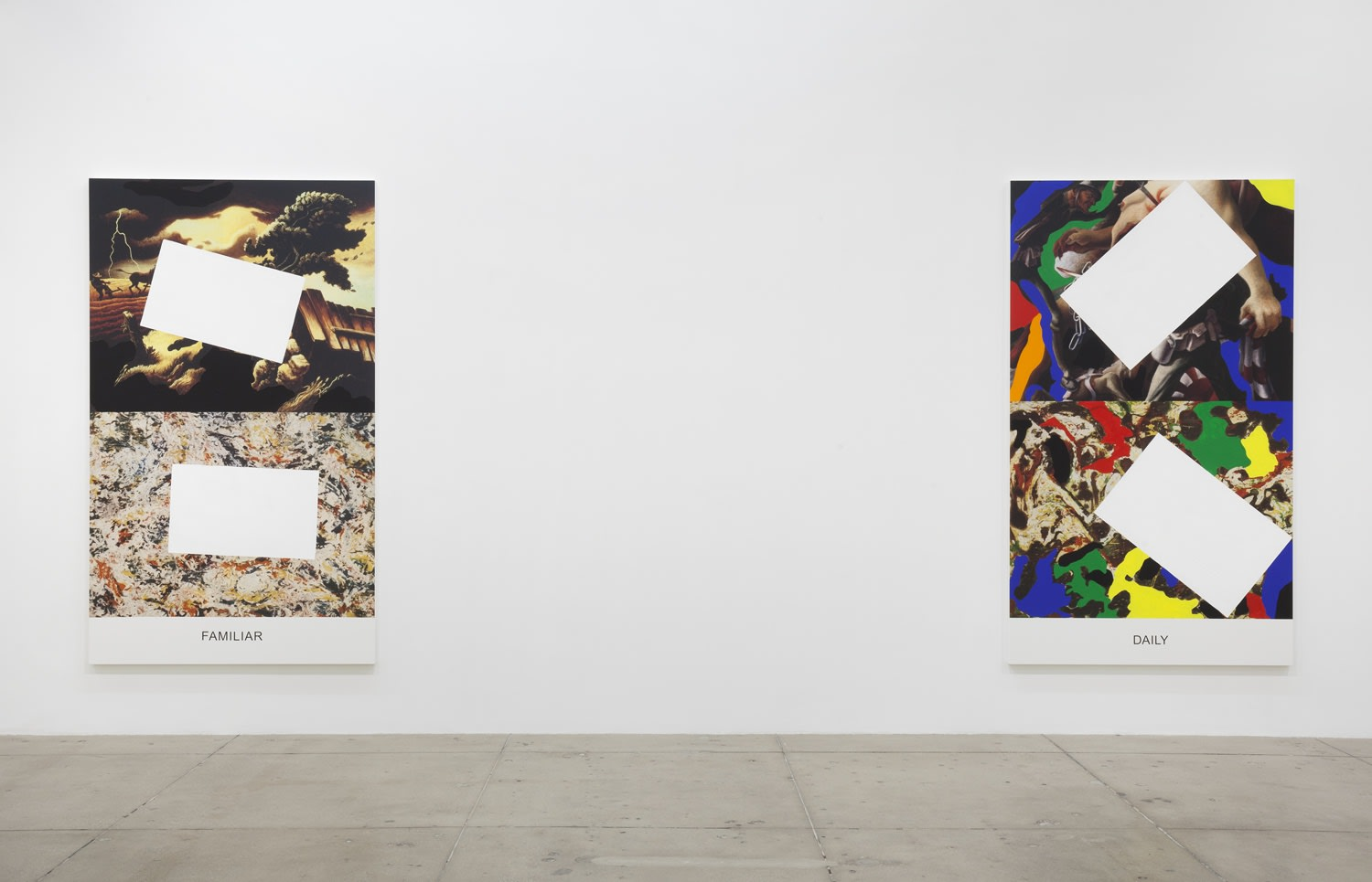 """2 colorful paintings partially covered with white rectangles. The text """"FAMILIAR"""" and """"DAILY"""" is written at the bottom."""