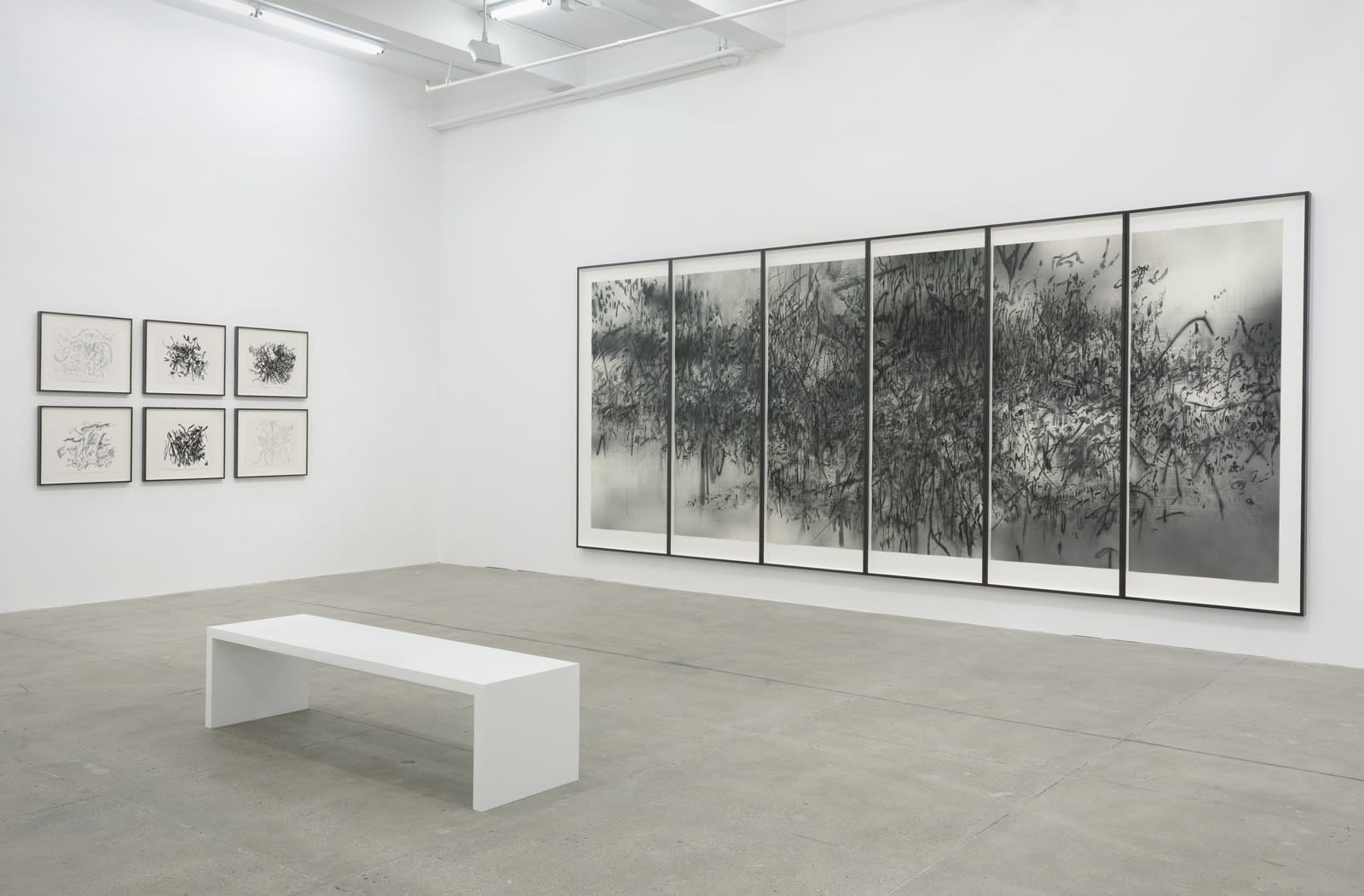 Black and white abstract drawings, small and large, hang in multiple frames in a white gallery.