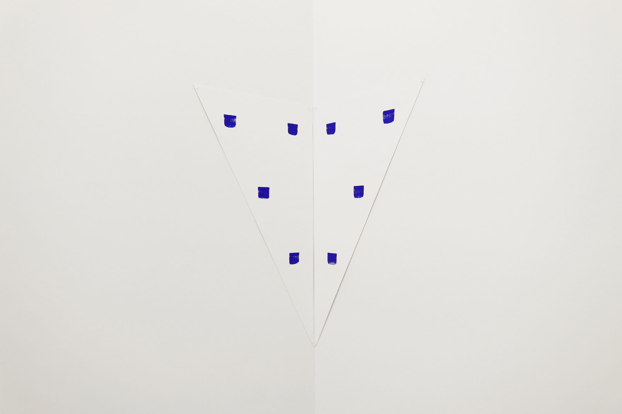 One of Niele Toroni's imprints, a set of blue squares, at Galerie Marian Goodman, Paris
