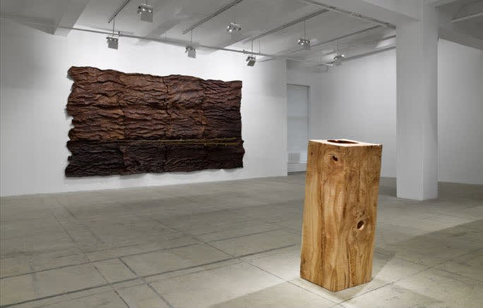Installation of two wooden pieces. One rectangular wooden slab rests on the floor. It is juxtaposed to the squares of dark bark installed on the wall like a painting.