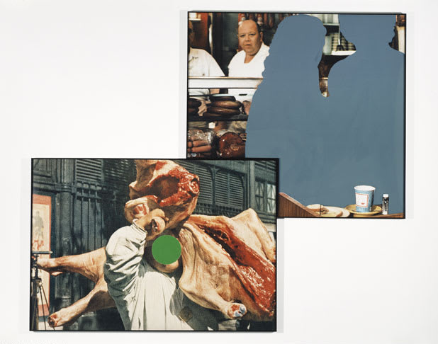 Two photos of New York City butchers, one holding a carcass of meat on his shoulders and the other of the interior of the store, with details painted on top of the photos.