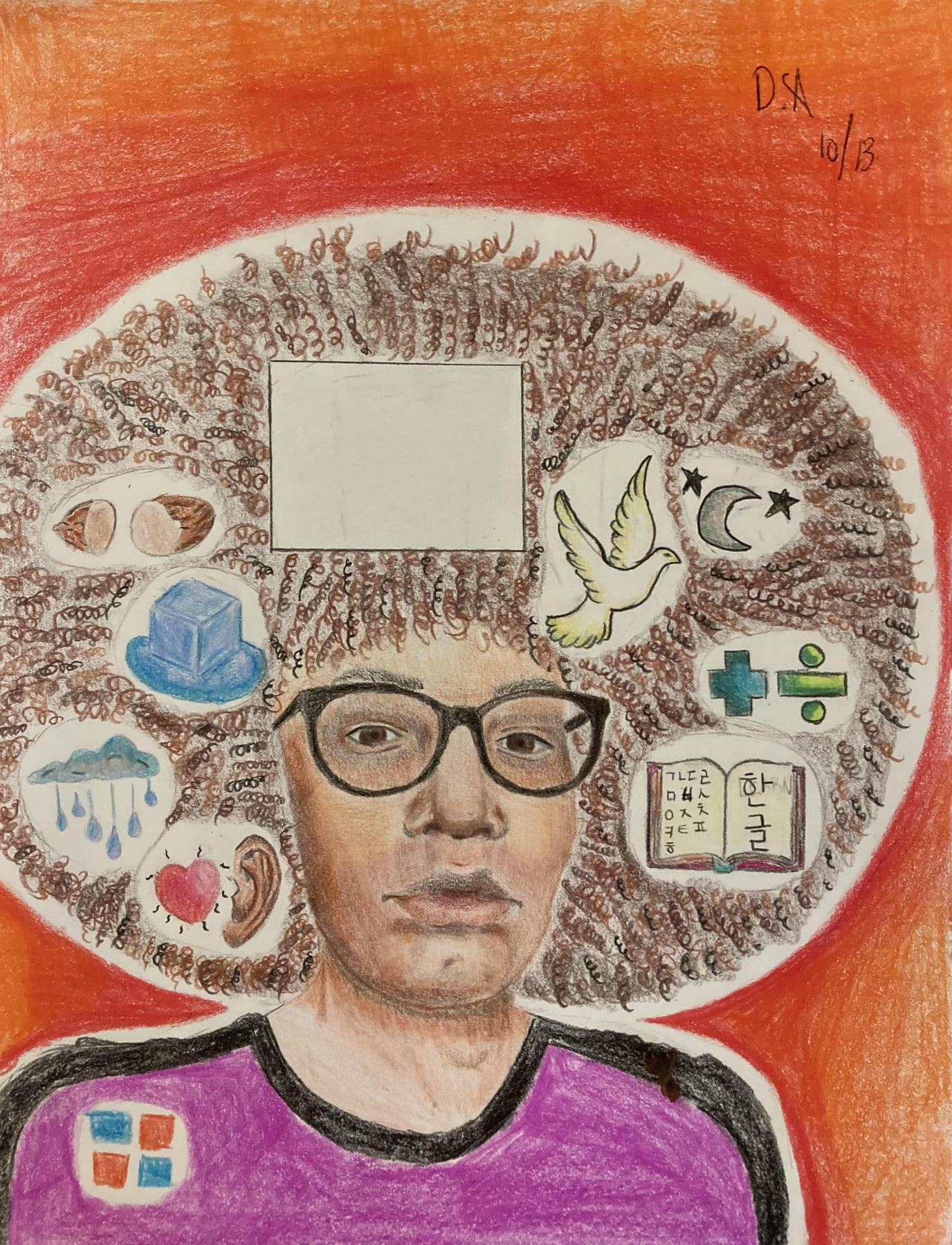 A self-portrait drawn by a student