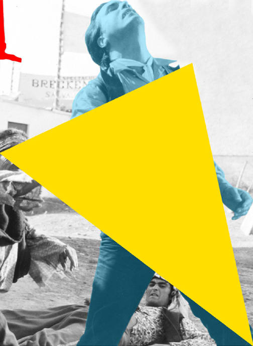 John Baldessari, Blockage (Yellow): With Person (Blue) Being Attacked, 2005