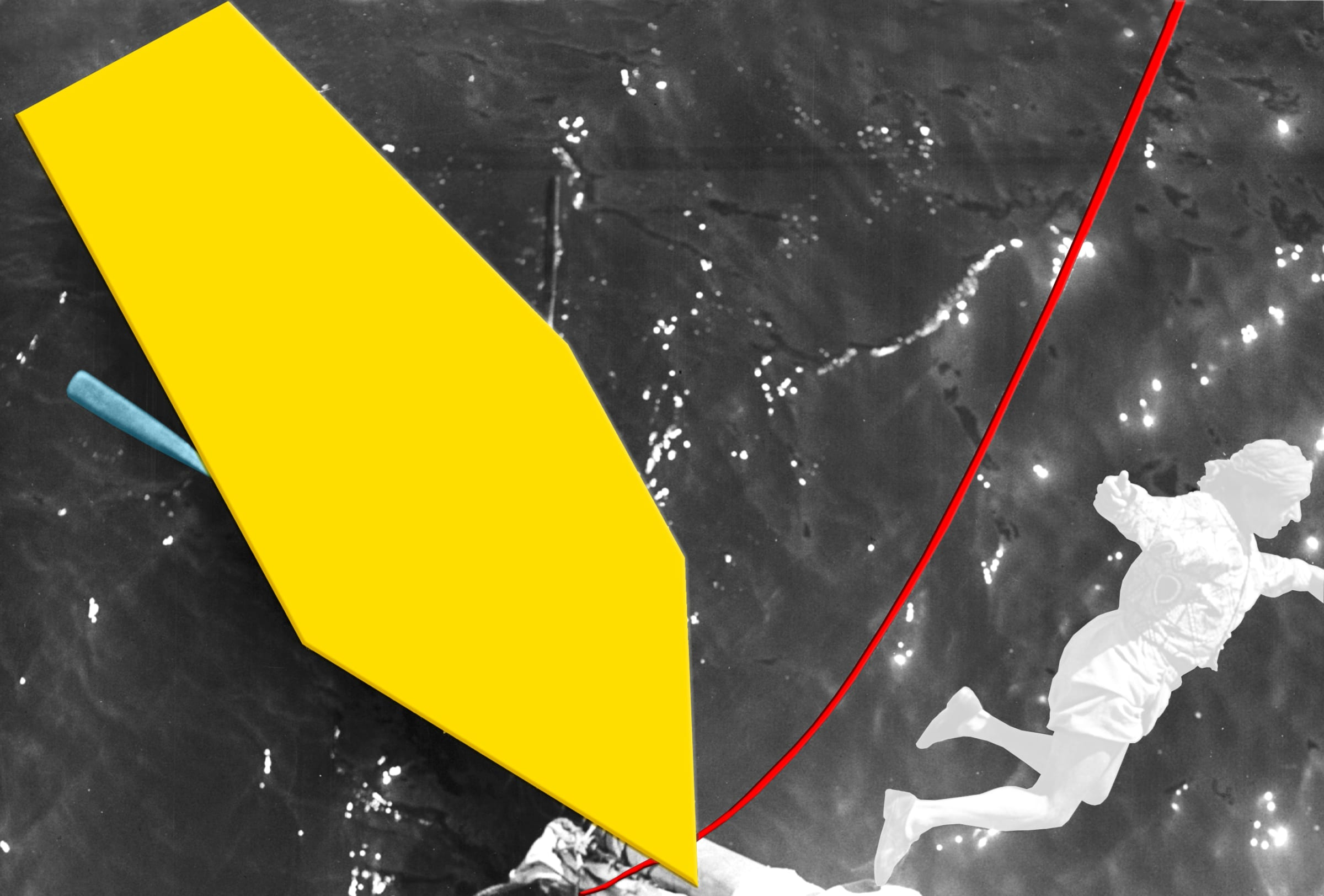 John Baldessari, Blockage (Yellow): With Person (White), Oar (Blue) and Rope (Red), 2005