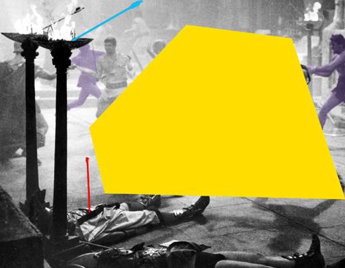 John Baldessari, Blockage (Yellow): and Sword Fight (Violet), 2005
