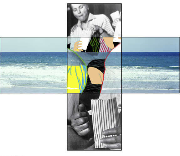 John Baldessari, The Intersection Series: Two Persons Eating Popcorn/Beach Scene, 2002
