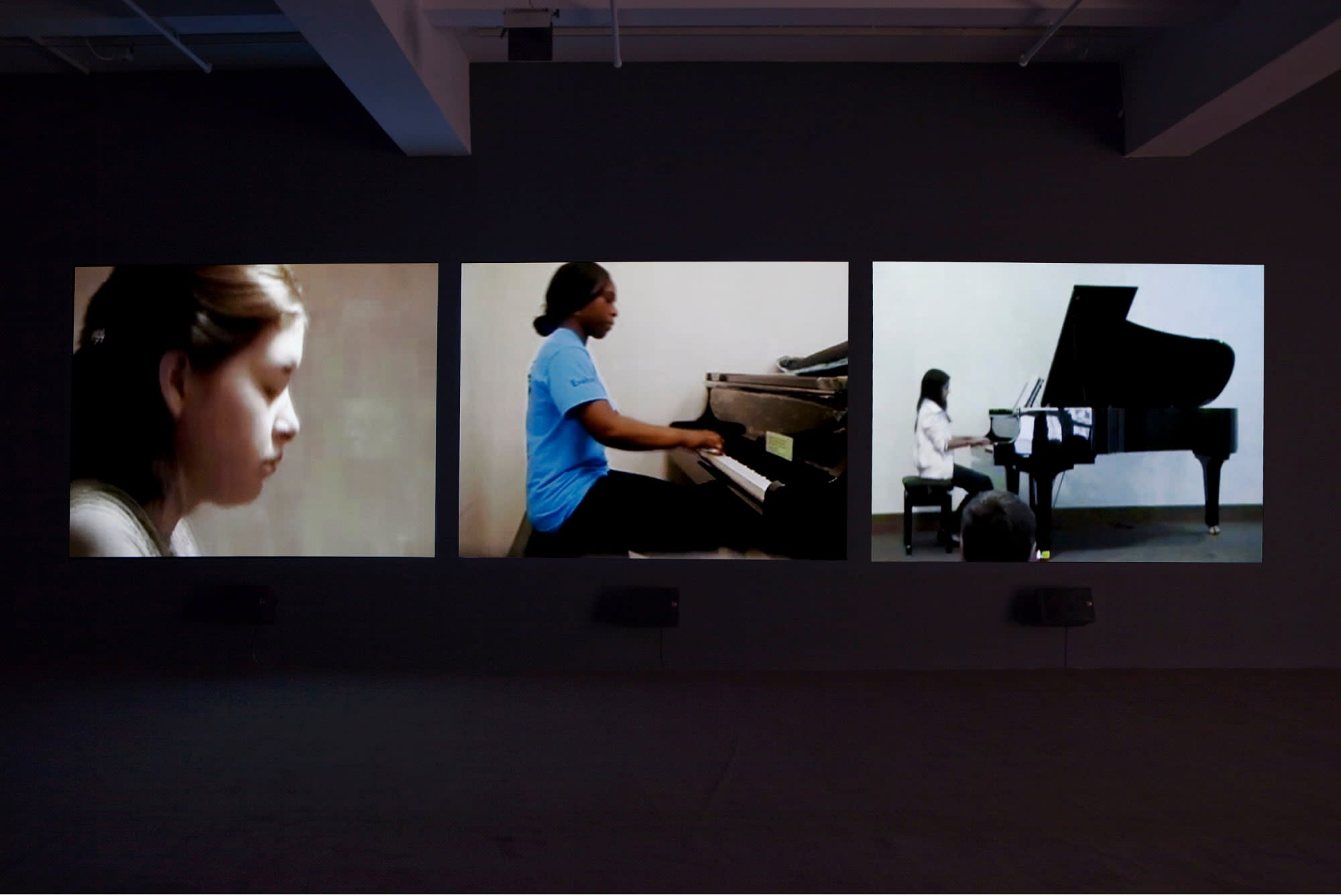 Three screen video still of three different people playing the piano.