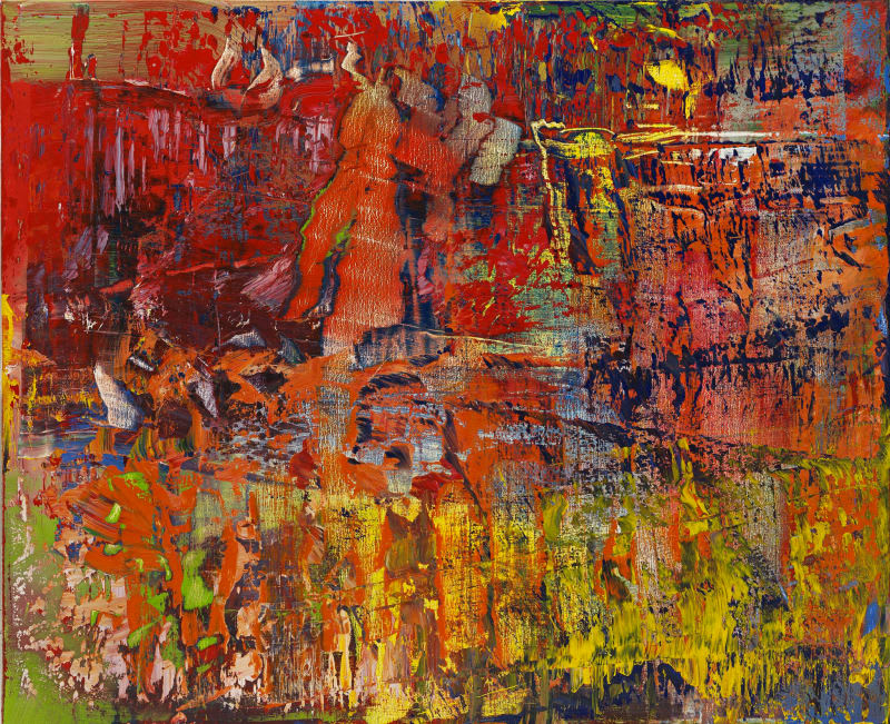 Abstract painting of fast and frenzied brush strokes in various bright colors.